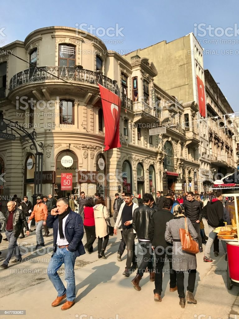 Turkish people walking in the Istiklal Street stock photo