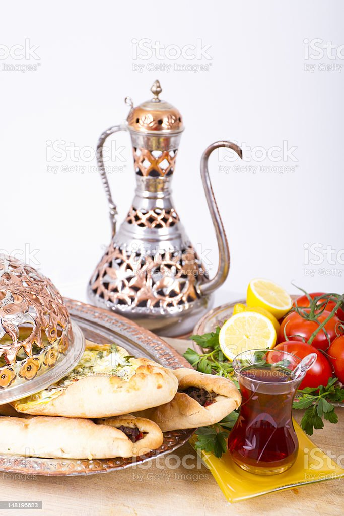 Turkish Pide with Hot Tea royalty-free stock photo