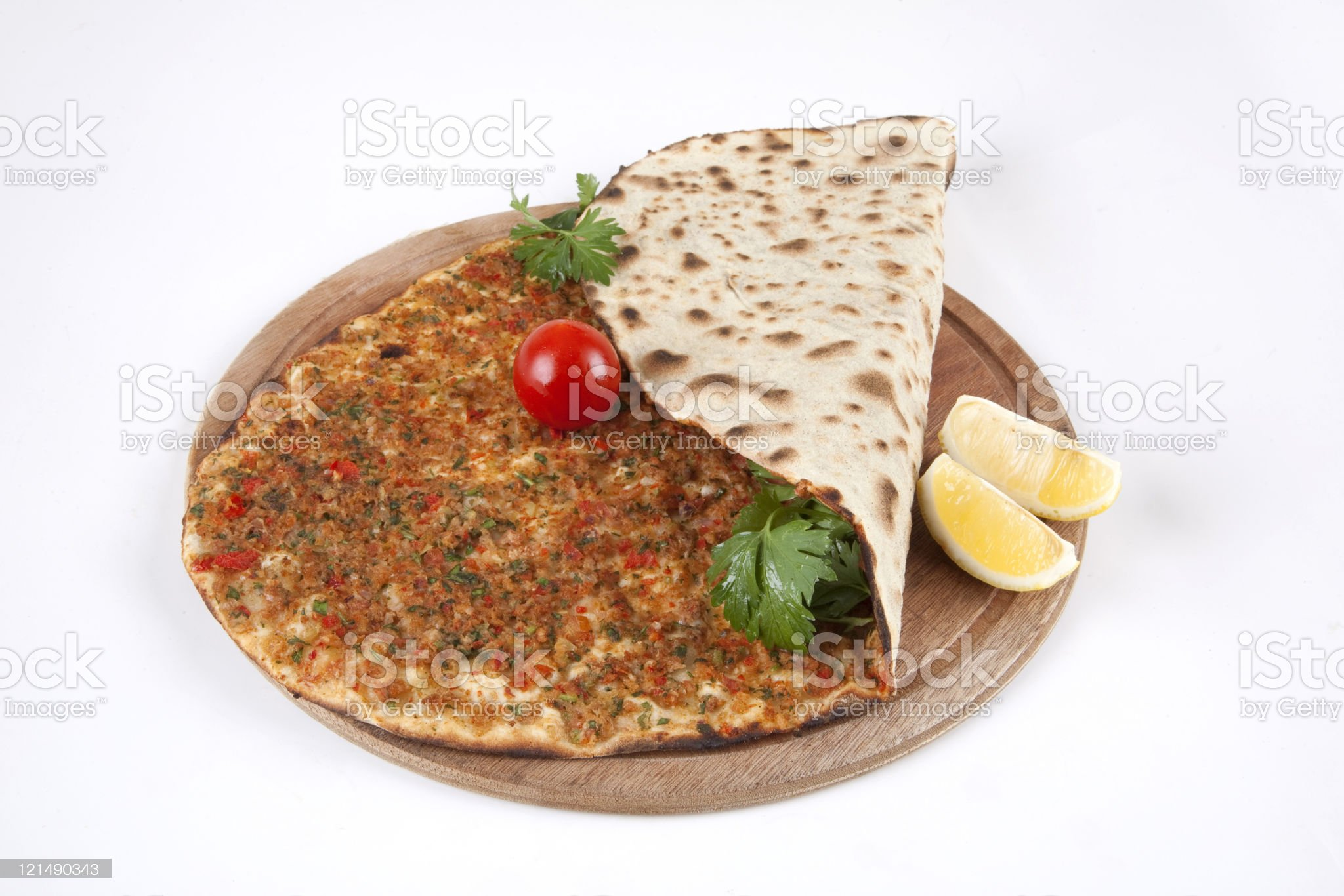 Turkish pizza - Lahmacun royalty-free stock photo
