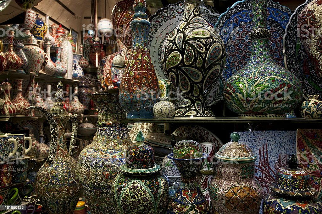 Turkish pottery shop royalty-free stock photo