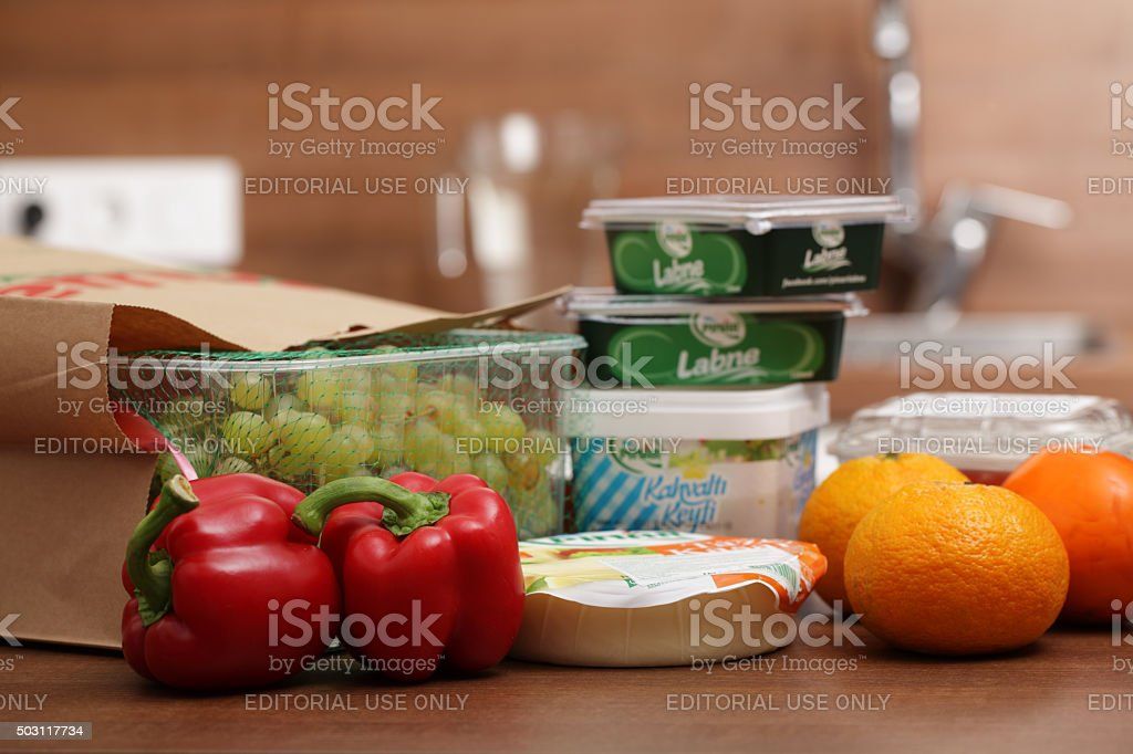 Turkish products on a kitchen table stock photo