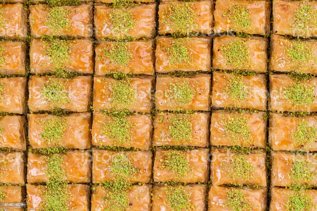 Turkish Ramadan Dessert Baklava with concept background stock photo