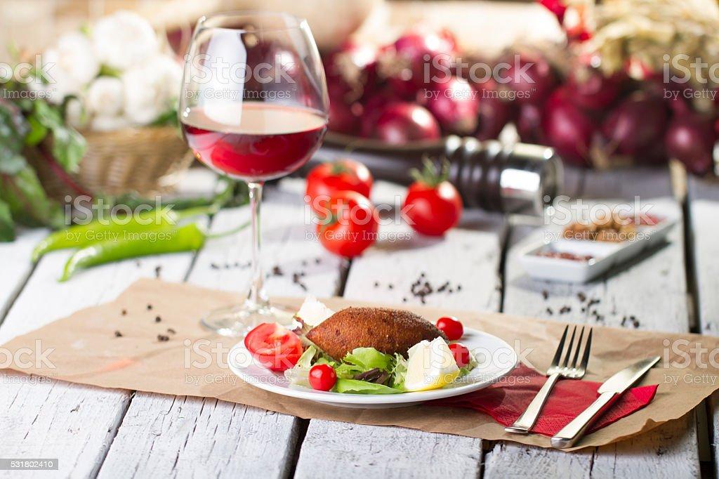 Turkish Ramadan Food icli kofte ( meatball ) falafe stock photo