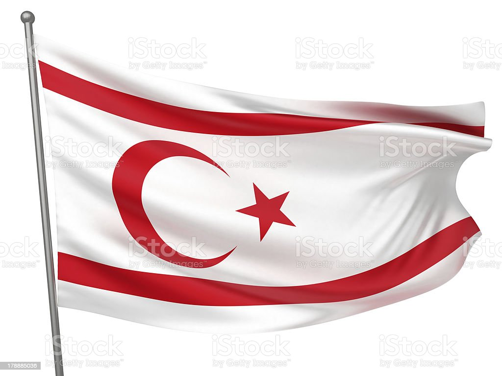 Turkish Republic of Northern Cyprus National Flag stock photo