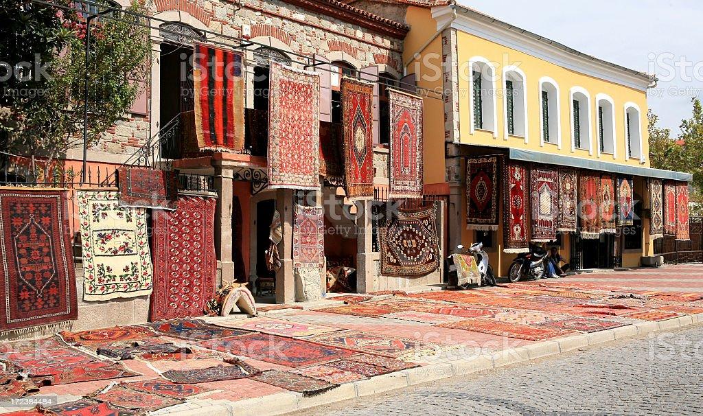 Turkish Roadside Carpet Store stock photo