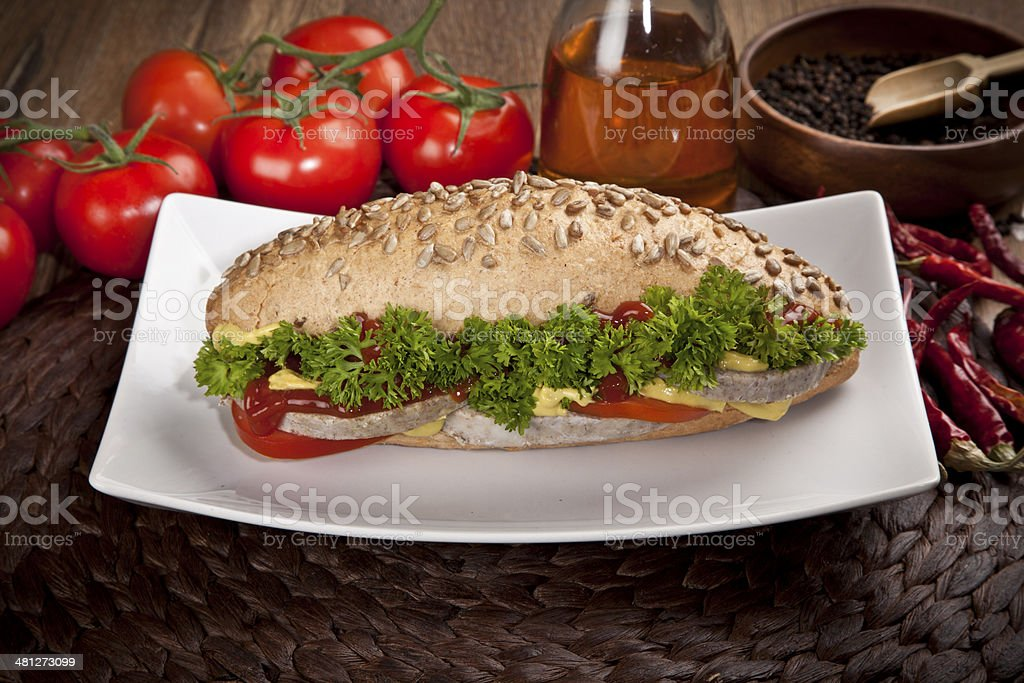 Turkish Roasted Meat sandwich   kavurma royalty-free stock photo
