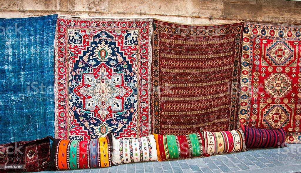 Turkish rugs in the Grand Bazaar stock photo