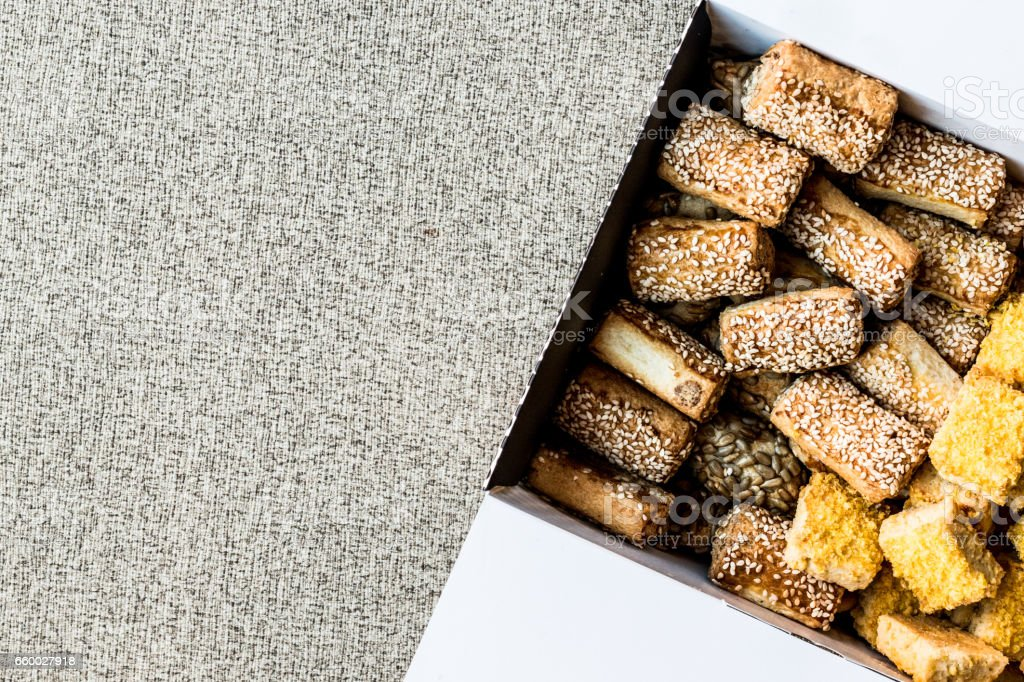 Turkish salty pastries with cornflour in box. stock photo