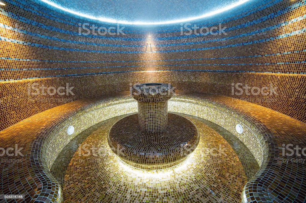 Turkish sauna interior hammam room tiled water hot bath stock photo