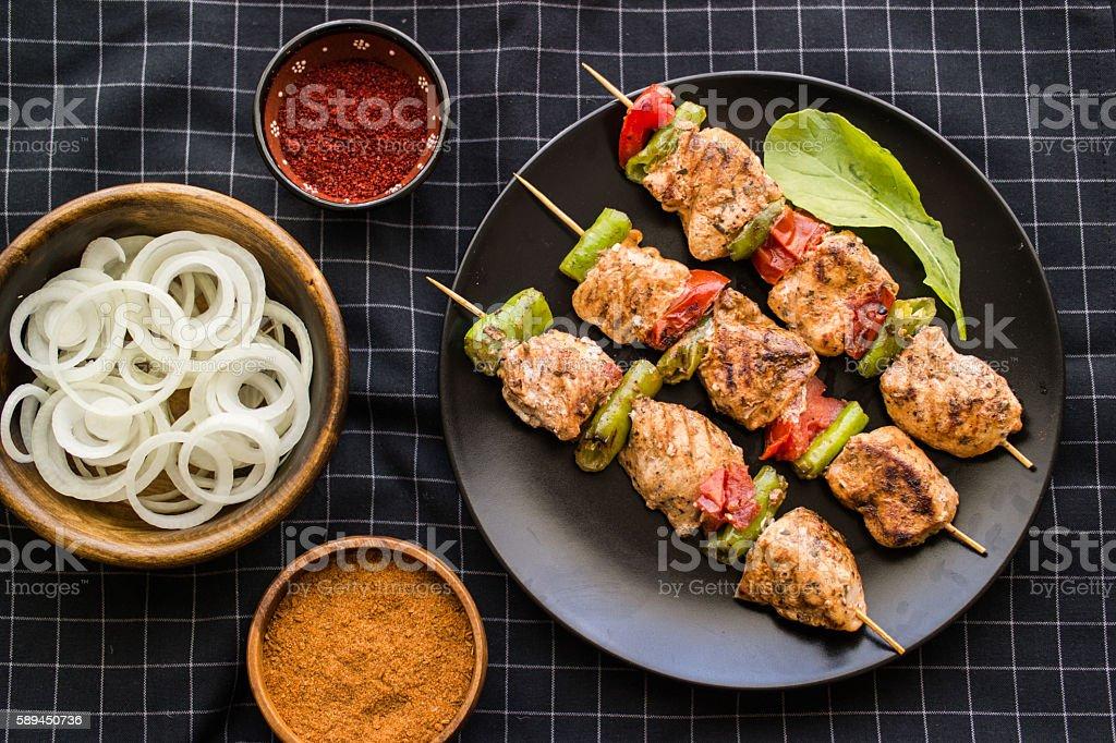 Turkish Shish Kebab / Chicken Skewers. stock photo