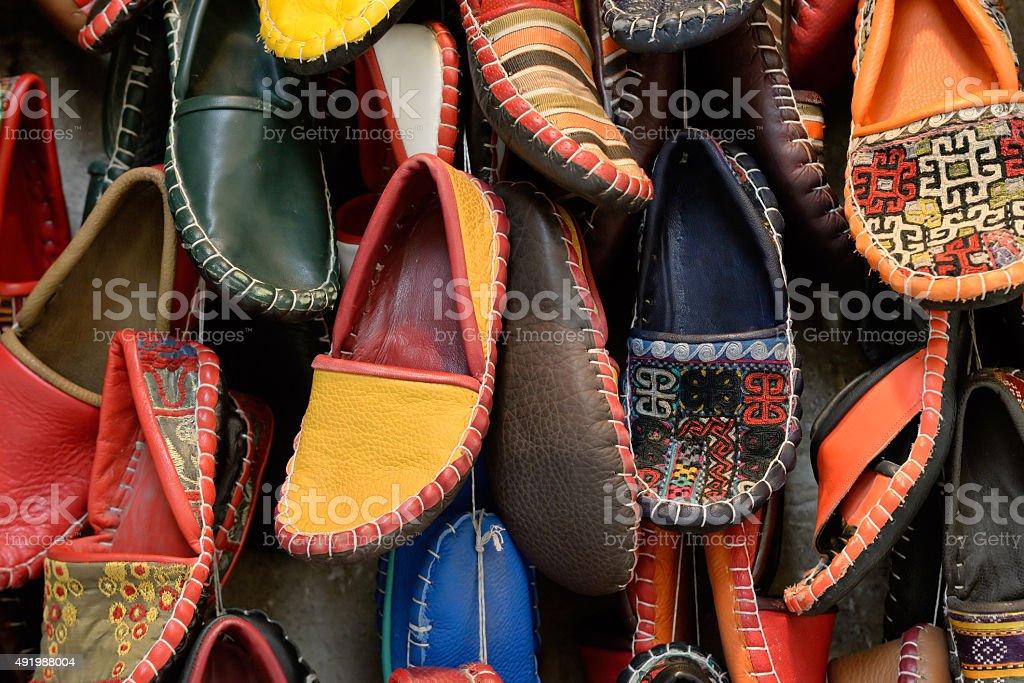 Turkish slippers. stock photo