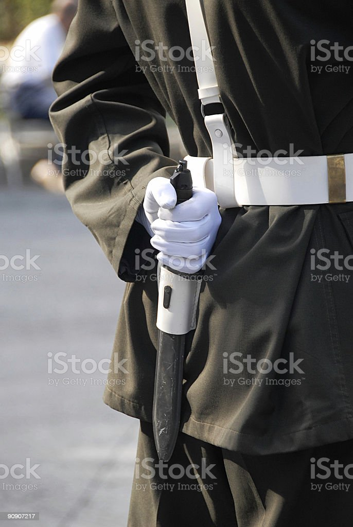 Turkish Soldier Holding Bayonette royalty-free stock photo