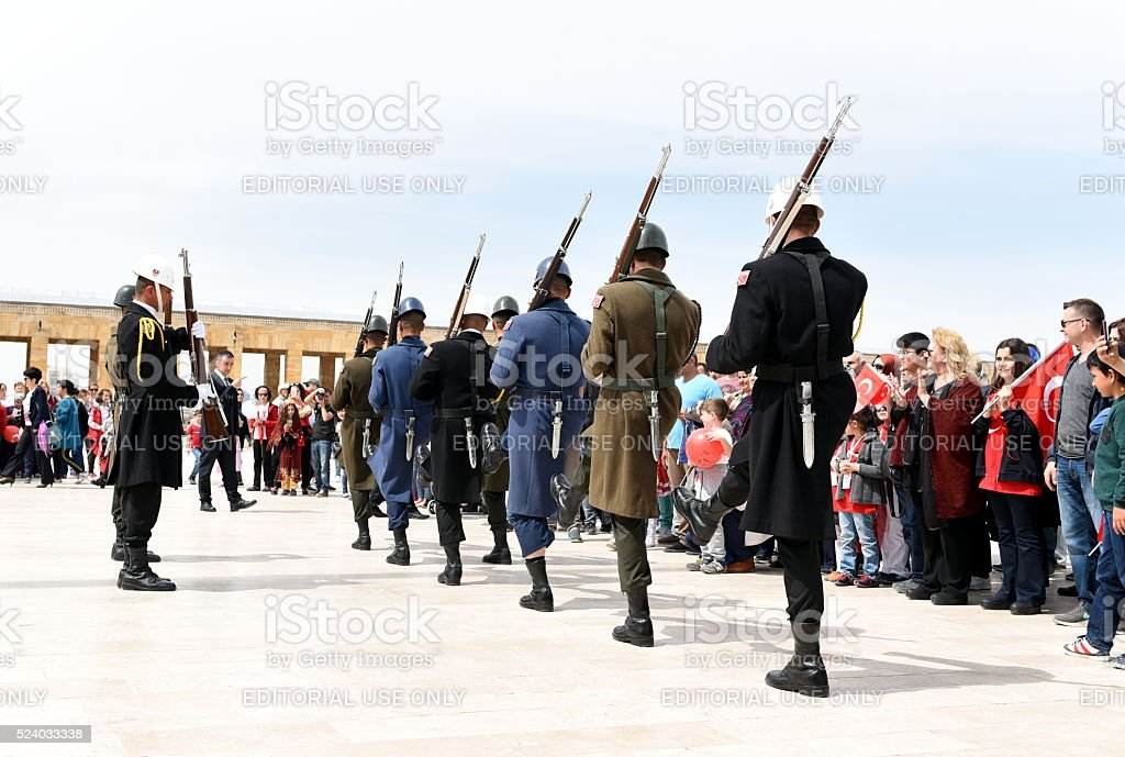 Turkish soldiers and Turkish citizens stock photo