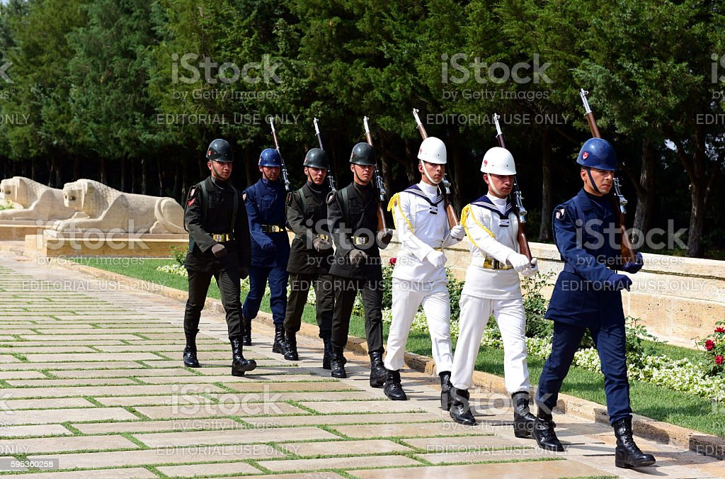 Turkish soldiers in Anitkabir stock photo