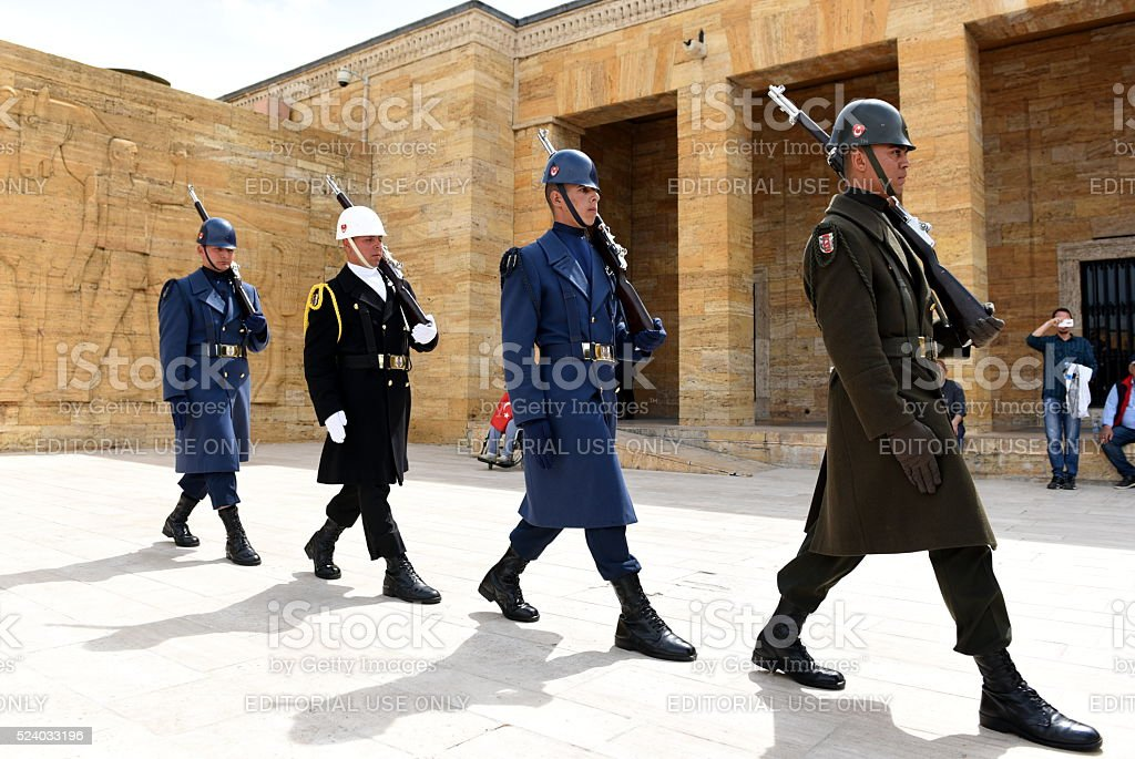 Turkish soldiers walking during ceremony in Anitkabir stock photo