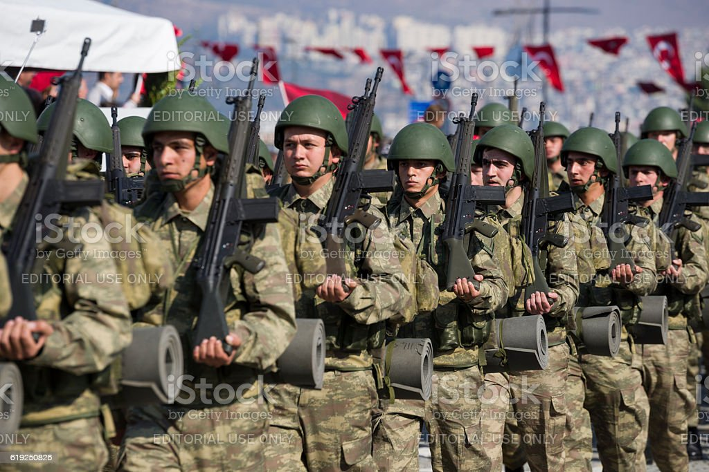 Turkish soldiers walking. stock photo