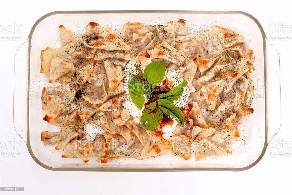 Turkish style delicious manti tatar borek stock photo