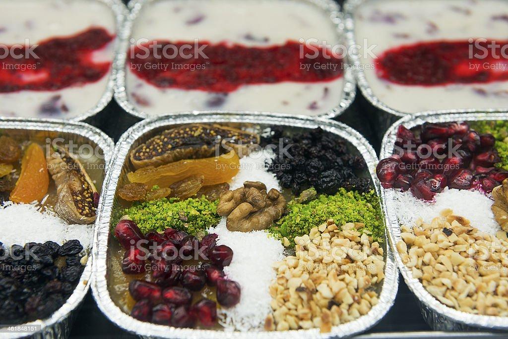 Turkish sweets Ashura ( Noah's pudding ) stock photo