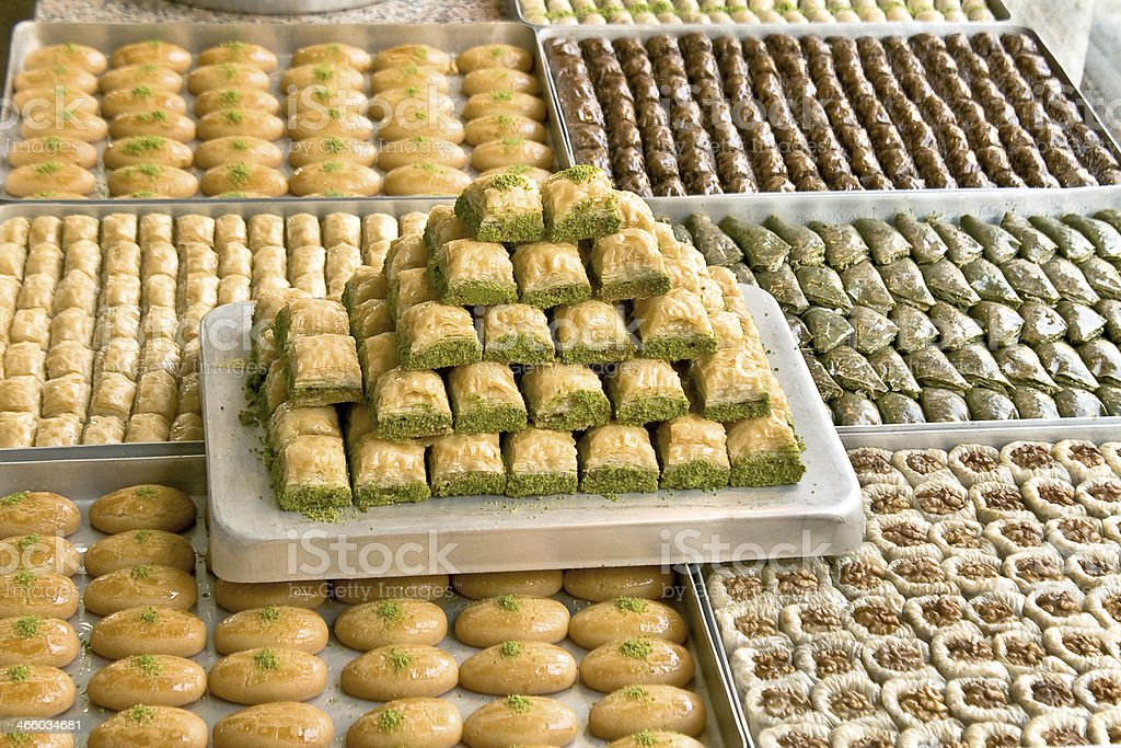 Turkish sweets on plates stock photo