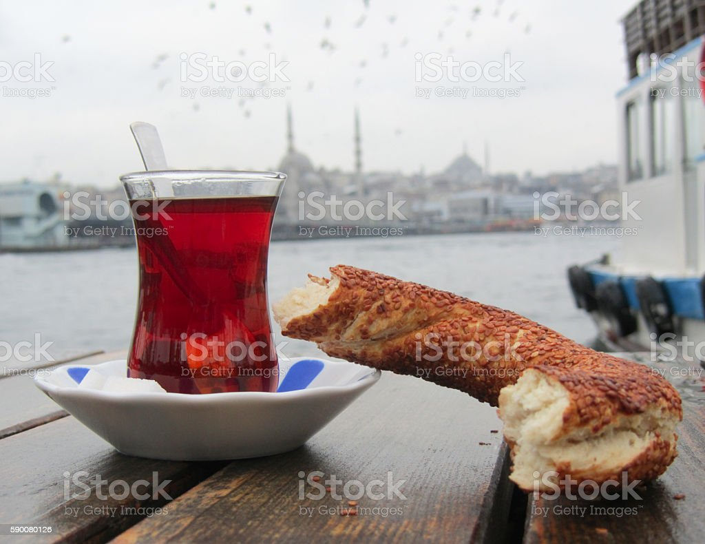 Turkish Tea and Bagel - Istanbul stock photo