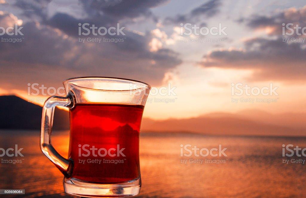 Turkish Tea and sunset. stock photo