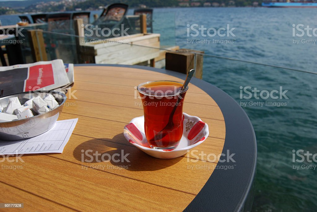 Turkish tea at cafe on Bosphorus royalty-free stock photo