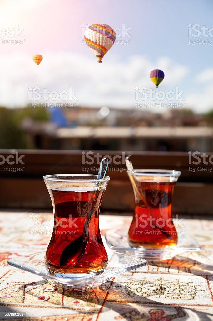 Turkish tea in Cappadocia stock photo