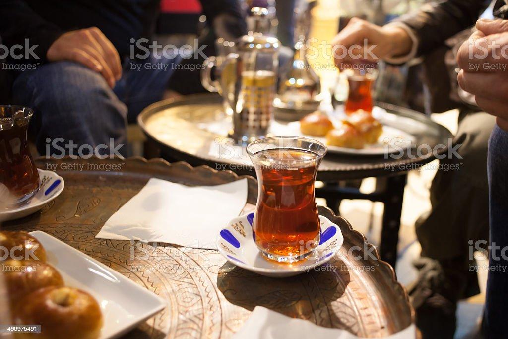 turkish tea on table stock photo