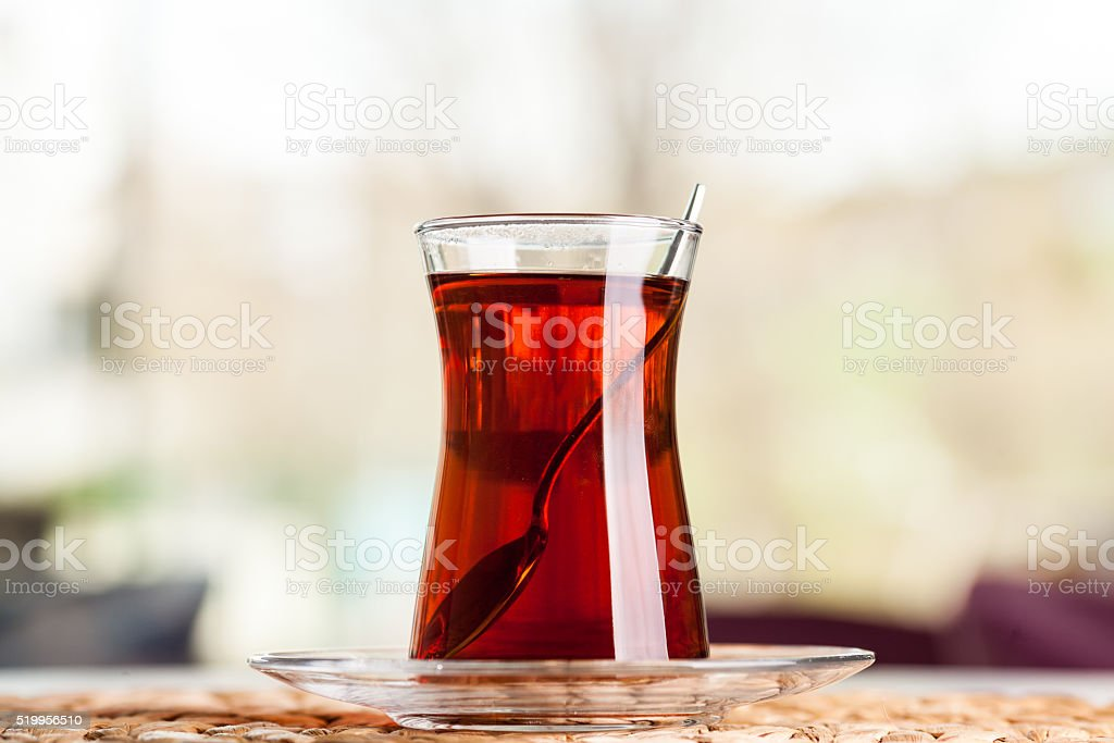 Turkish Tea with Classic Glass stock photo