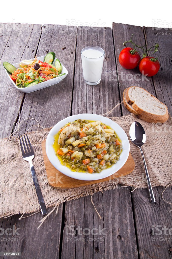 Turkish traditional artichoke food meal is serving on table stock photo