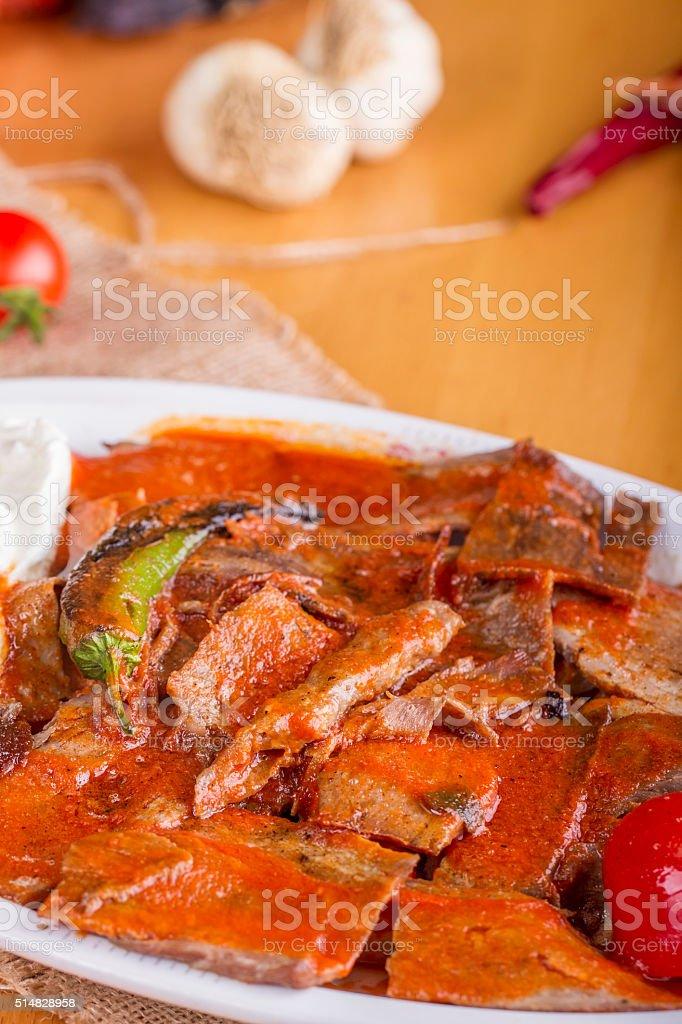 Turkish Traditional iskender kebap with yogurt stock photo