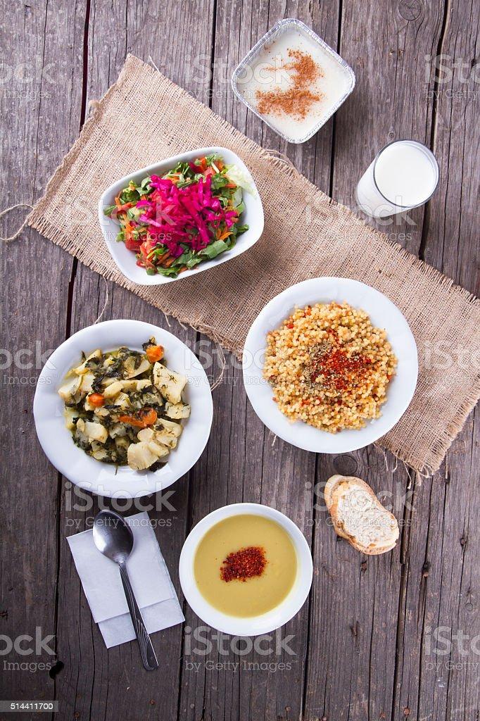 Turkish Traditional Ramadan Table ready for Iftar stock photo