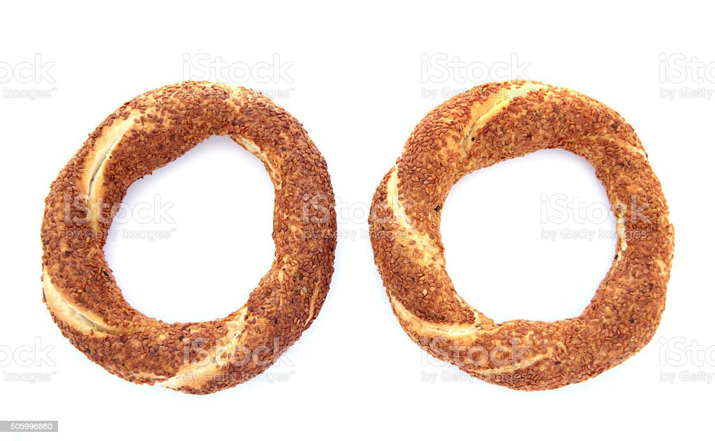 Turkish traditional sesame bagels. stock photo