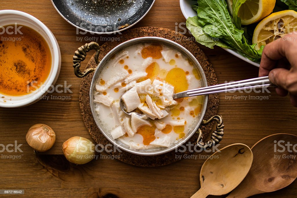 Turkish Traditional Tripe Soup / Iskembe Corbasi. Stock Photo ...