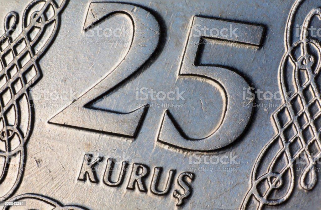 Turkish Twenty Five (25) Kurus Coin Macro stock photo