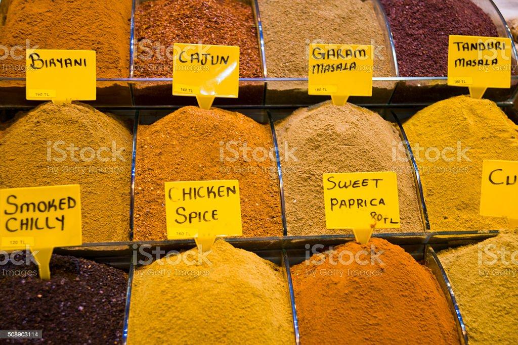 Turkish Various Spices at Egyptian Bazaar in Istanbul, Turkey stock photo
