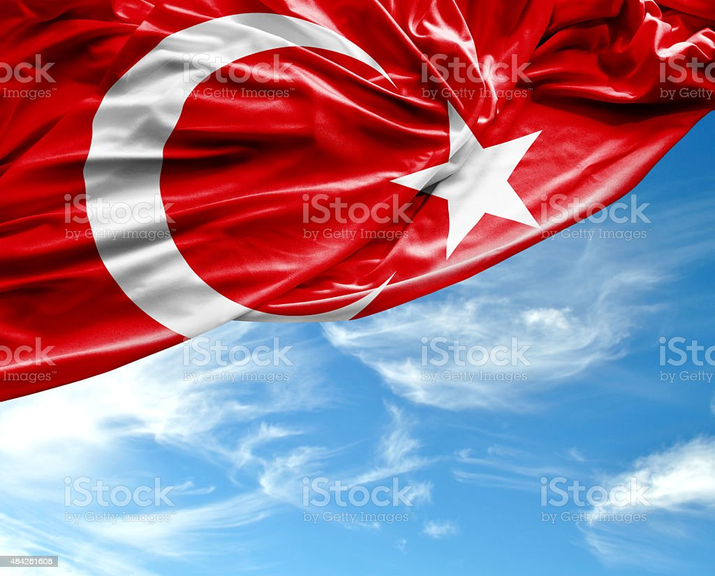 Turkish waving flag on beautiful day stock photo