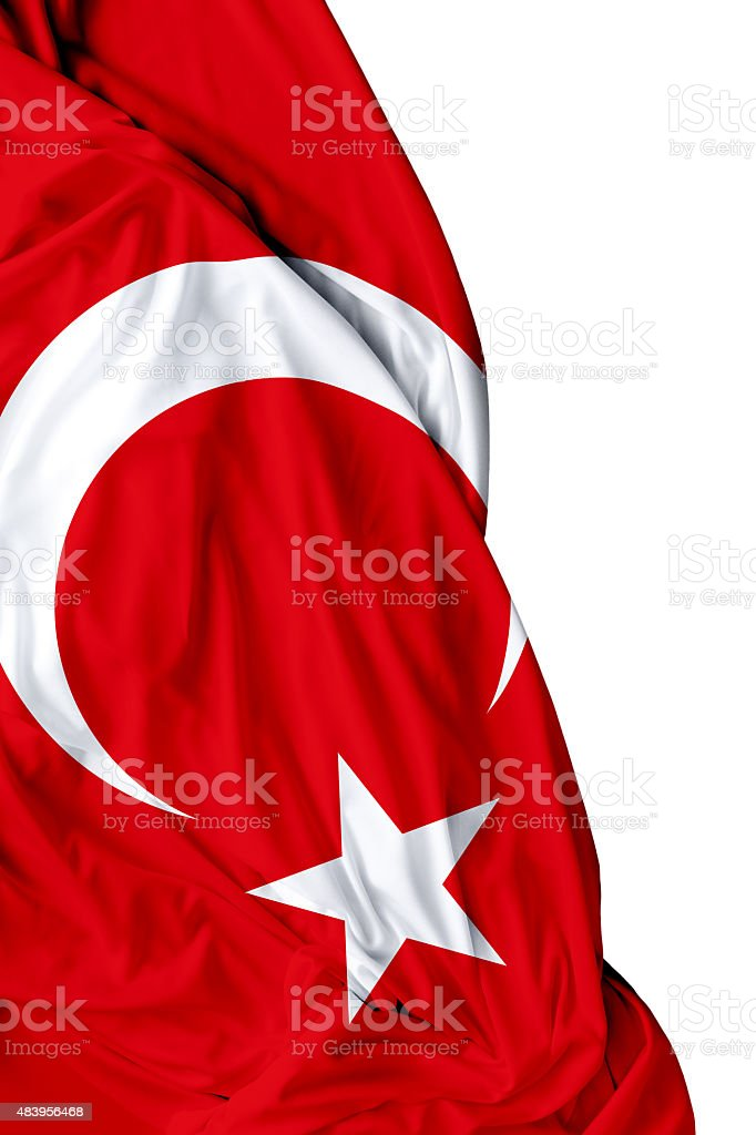Turkish waving flag on white background stock photo