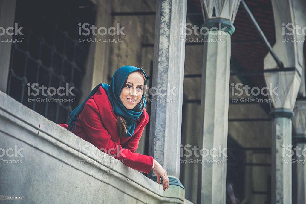 Turkish woman portrait wearing an headscarf stock photo
