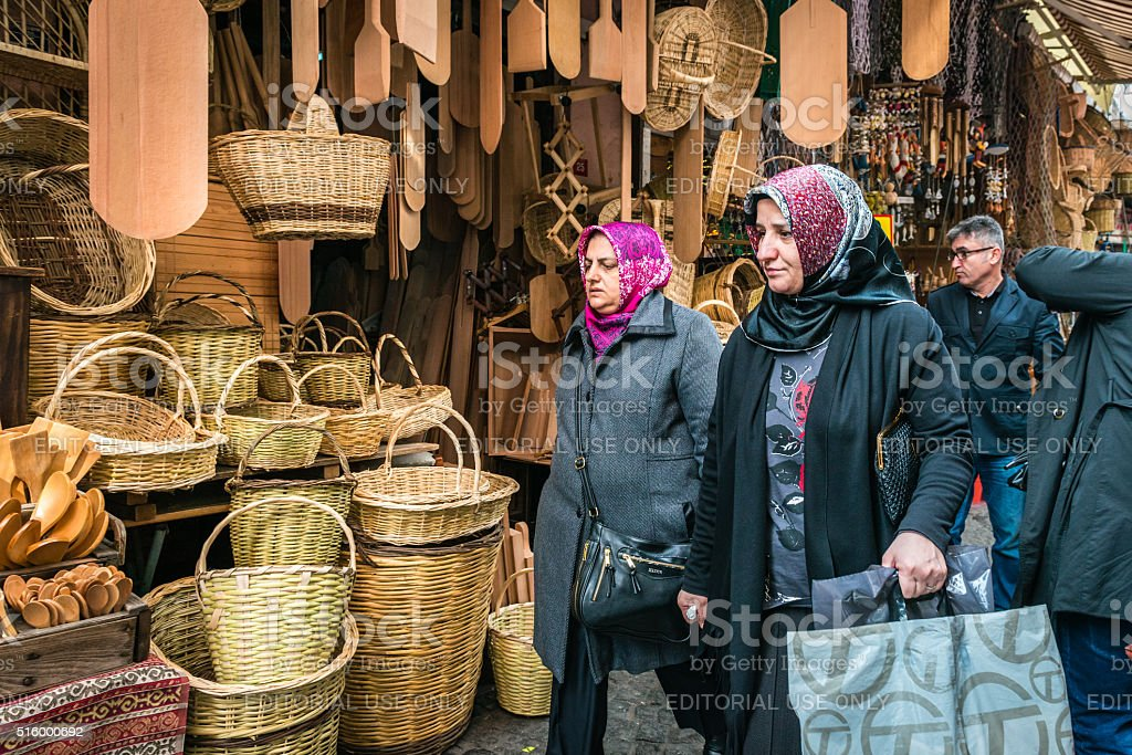 Turkish women are shopping in the market of Istanbul, Turkey stock photo