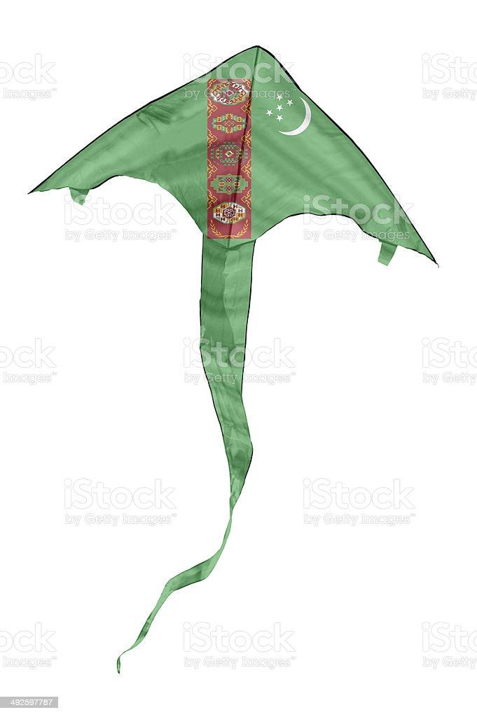 Turkmen Flag Kite stock photo