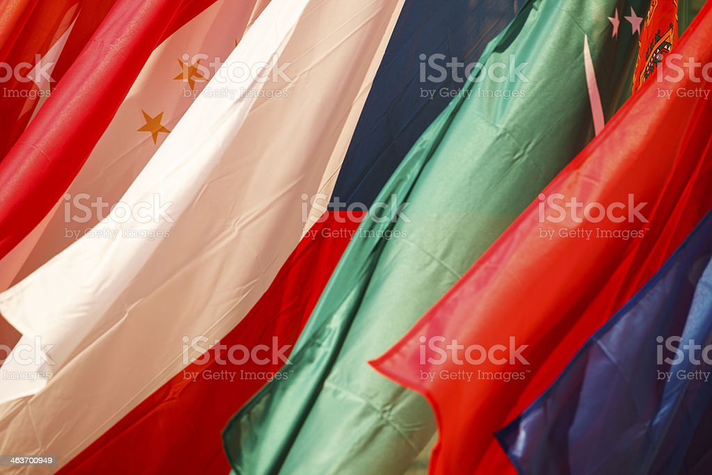 Turkmenistan and Czech Repupblic flags stock photo