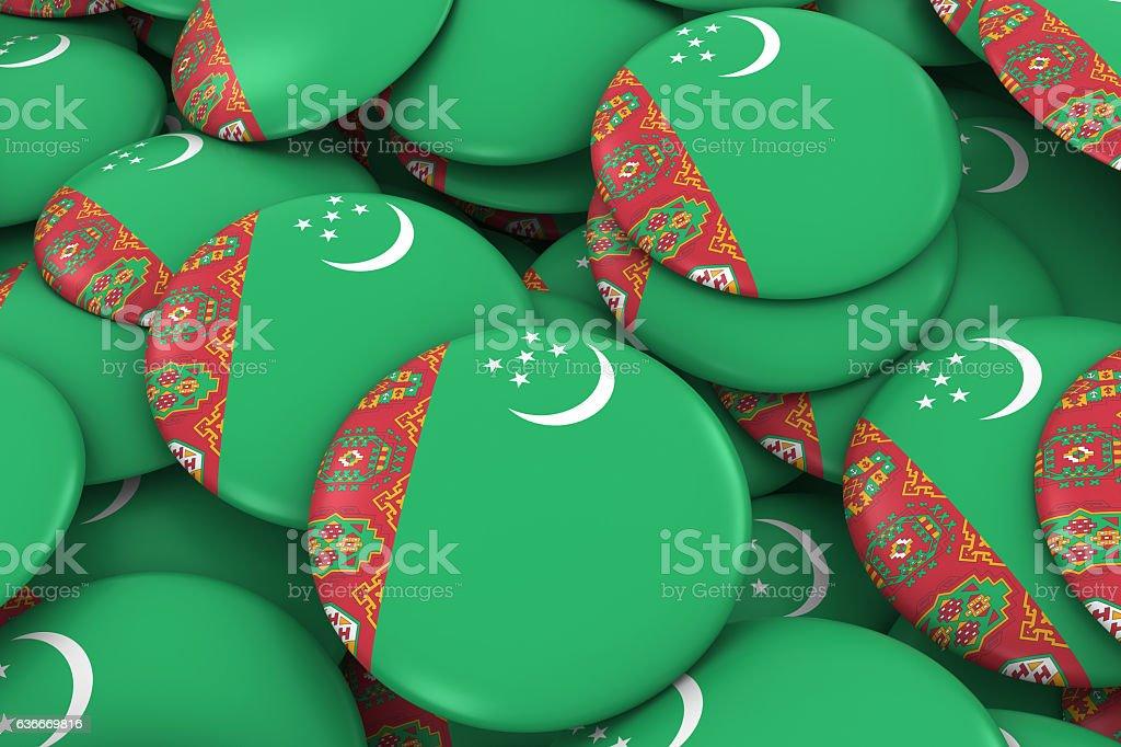 Turkmenistan Badges Background - Pile of Turkmen Flag Buttons stock photo