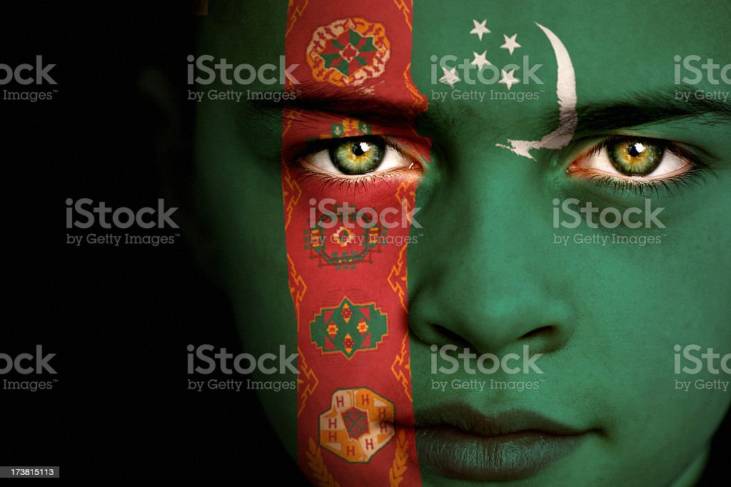 Turkmenistan flag boy stock photo