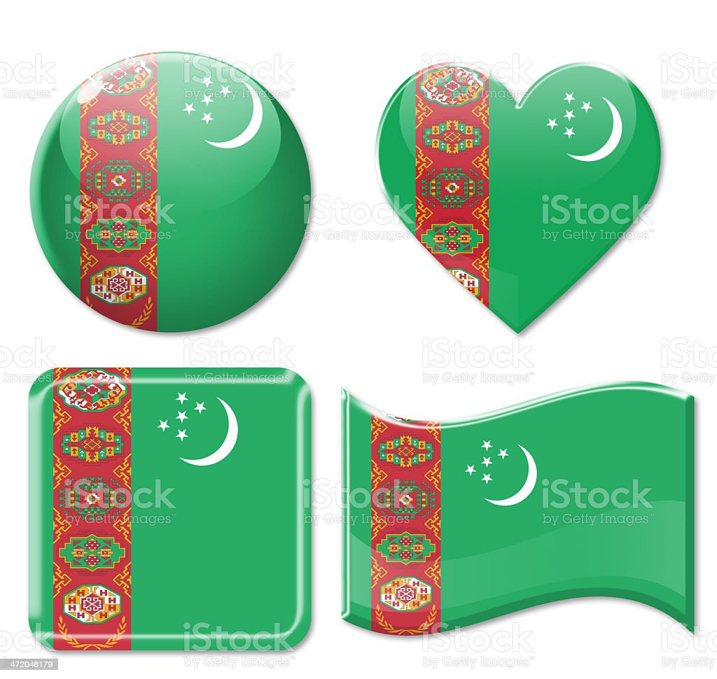 Turkmenistan Flags & Icon Set stock photo