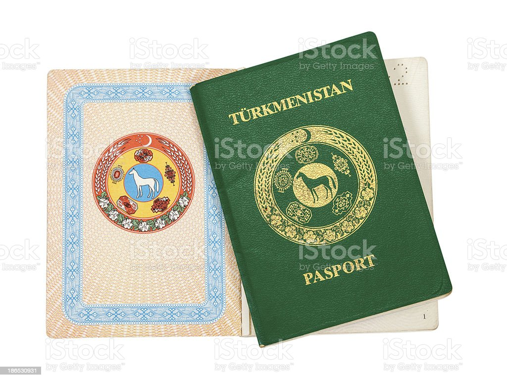 Turkmenistan passport isolated on white background stock photo