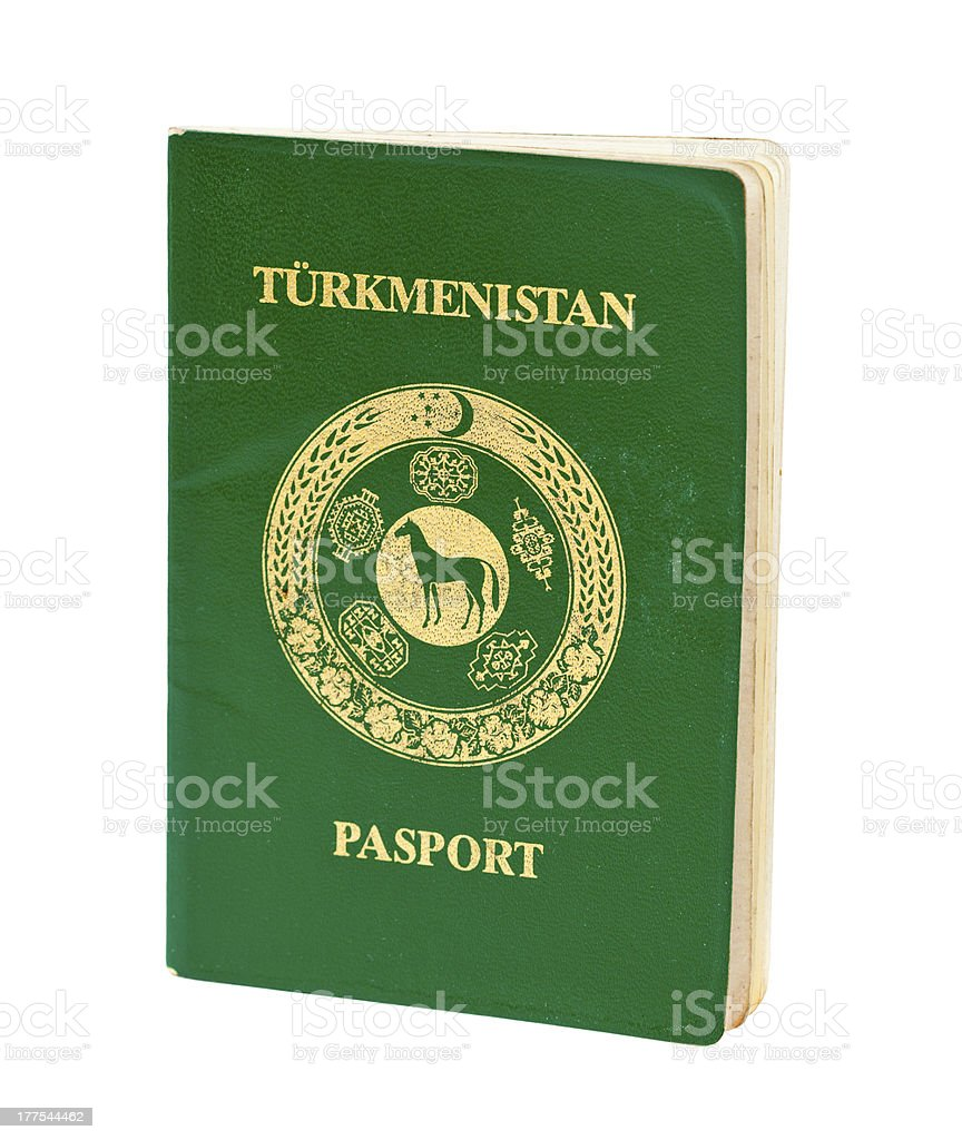 Turkmenistan passport over white stock photo