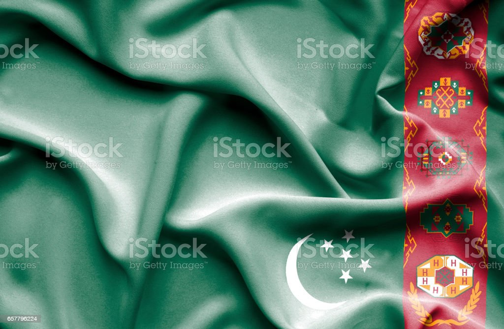 Turkmenistan waving flag stock photo