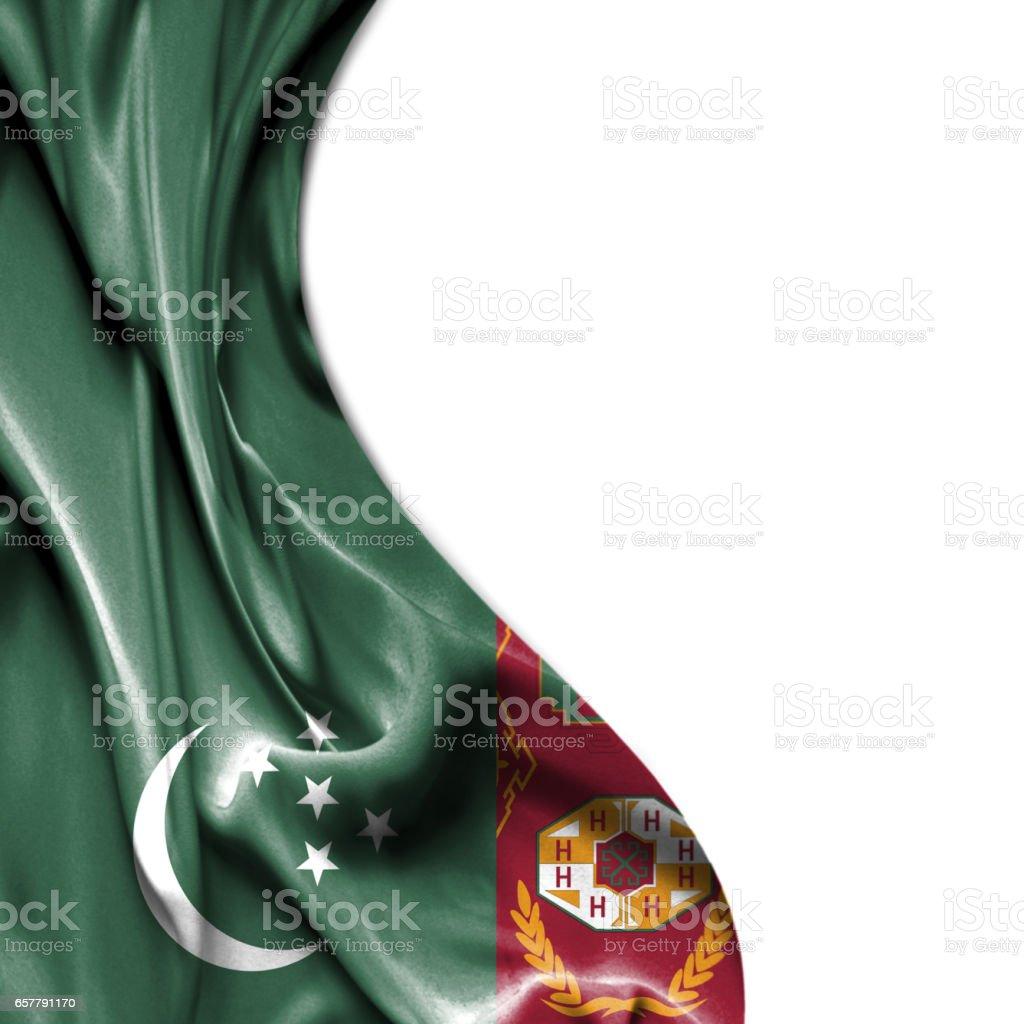 Turkmenistan waving satin flag isolated on white background stock photo