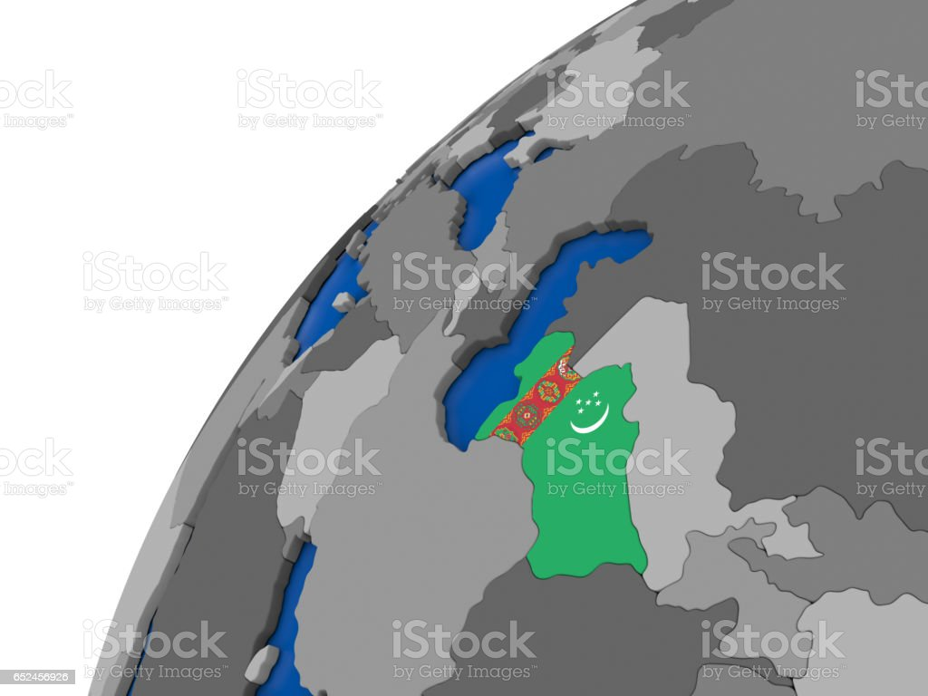 Turkmenistan with flag on political globe stock photo